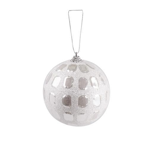 Suspension boule - Plastique - Ø 10 cm - Blanc diamant