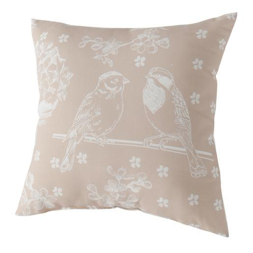 Coussin charme Oiseau - 100 % polyester - 40 x 40 cm - Taupe