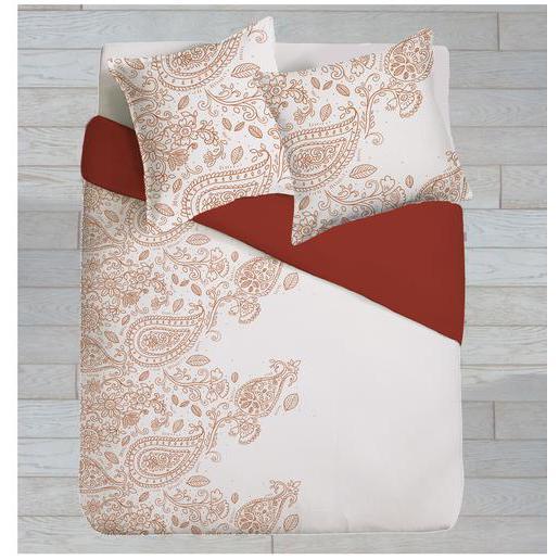 parure de couette - coton - orange - blanc - linge de lit | la