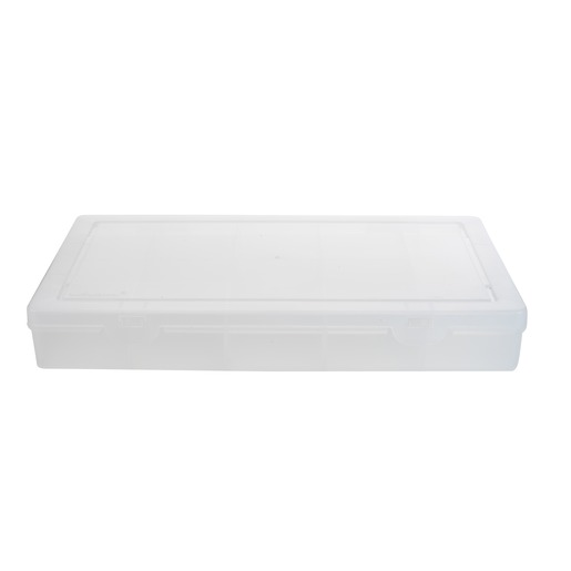 Mallette de rangement 13 compartiments - 29 x 19 x H 4 cm - Blanc transparent