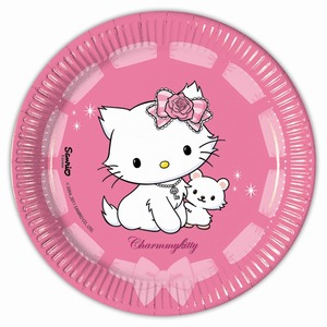 Lot de 10 assiettes Charmmy Kitty en carton - 23 cm - Multicolore