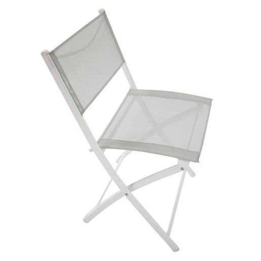 Chaise pliante - Acier - Textilène - Gris - Blanc - Salon de jardin ...