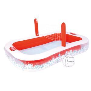 Piscine à volley + 1 balle + 1 filet - 254 x 168 x 97 cm - rouge et blanc