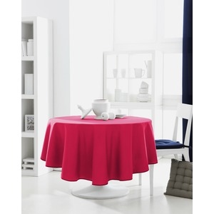 Nappe de table ronde 100% coton 180 cm - Rose jus de myrtille