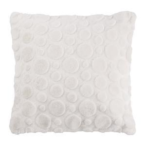 Coussin effet rond - 100 % polyester - 40 x 40 cm - Blanc