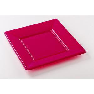 Lot de 8 assiettes - plastique - 23 cm x 23 cm - Violet orchidée