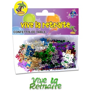 Sachet de confettis de table Vive la retraite - 12 x 10 cm - Multicolore