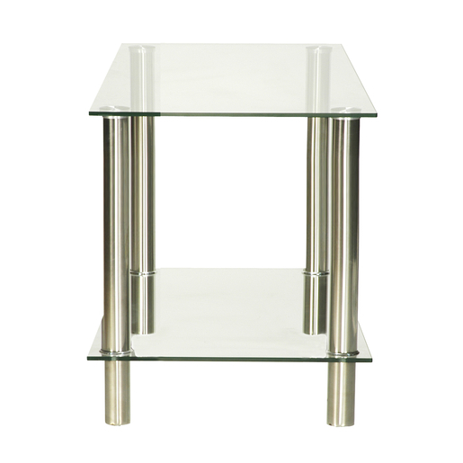 Table basse d'appoint - Verre et métal - 40 x 40 x H 50 cm - Transparent