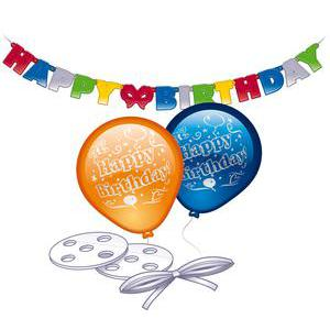 Kit Happy Birthday - Latex - 24,5 x 16,5 x 3 cm - Multicolore