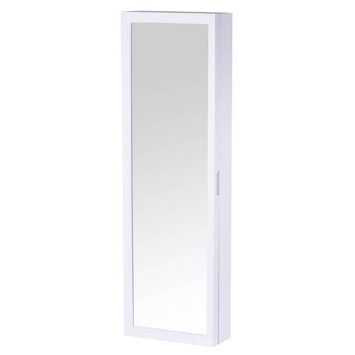 Miroir range bijoux plastique et verre blanc miroirs for Miroir pour porte