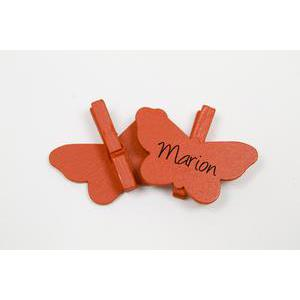 Lot de 6 marques places Papillon sur pince - Bois - 3 x 4 cm - Rouge