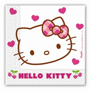 Lot de 20 serviettes Hello Kitty Hearts en pate de cellulose - 33 cm - Multicolore