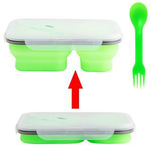 Lunch box à 2 compartiments rétractables en silicone - 21,5 x 15,5 x 7,5 cm - vert