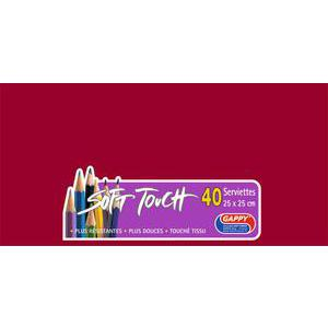 Lot de 40 serviettes Soft Touch Gappy - 25 x 25 cm - Pure Ouate de Cellulose - Rouge - Bordeaux