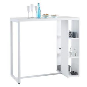 Meuble bar 3 niches - MDF - Tubes métal - 104 x 50 x H 110 cm - Blanc