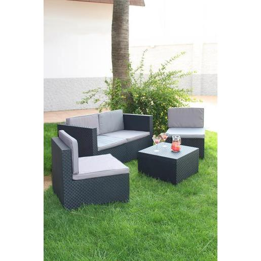 salon de jardin polypropyl ne gris salon de jardin la foir 39 fouille. Black Bedroom Furniture Sets. Home Design Ideas