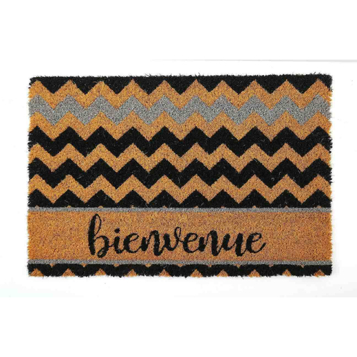 tapis coco bienvenue 40 x 60 cm noir beige tapis et paillassons la foir 39 fouille. Black Bedroom Furniture Sets. Home Design Ideas