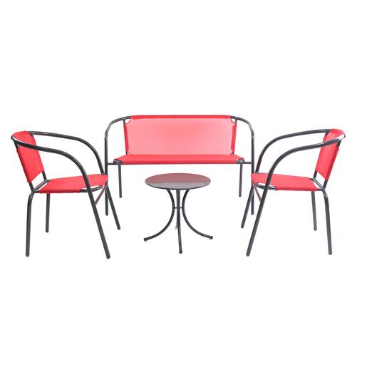 Salon de jardin - Acier - Textilène - Rouge - Salon de jardin | La ...