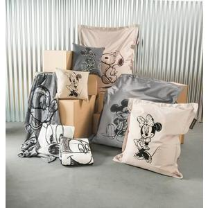Pouf Mickey - 100 % polyester - 80 x 100 cm - Taupe et noir