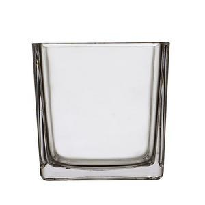 Vase carré - 14 x 14 x H 14 cm - Transparent