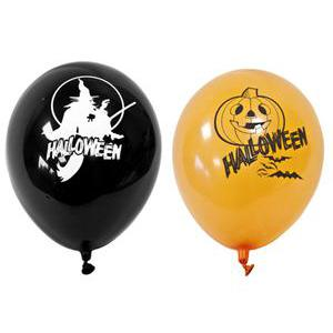 8 ballons imprimé Halloween - Latex - ø 28 cm - Noir et orange