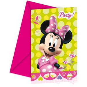 Lot de 6 cartes d'invitation Minnie Bow-tique en carton - 14,4 x 17 cm - Multicolore