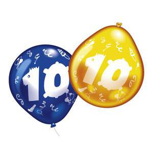 Lot de 10 ballons chiffre 10 - Latex - 25 cm - Multicolore