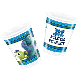 Lot de 8 gobelets Monsters university en polypropylène - 7 x 7 x 8 cm - Multicolore