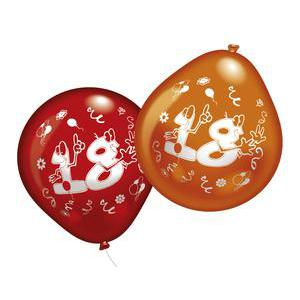 Lot de 10 ballons chiffre 18 - Latex - 25 cm - Multicolore