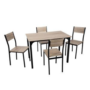 Ensemble table + 4 chaises Luna - Marron, noir