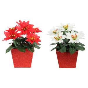 Centre de table Poinsettia - 10 x 10 x H 22 cm