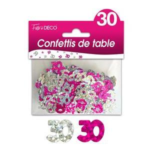 "Confettis de table ""30 ans"" hologramme - Rose"