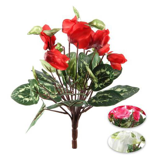 Bouquet de cyclamens - Plastique, Polyester - H 30 cm - Rouge Blanc Rose