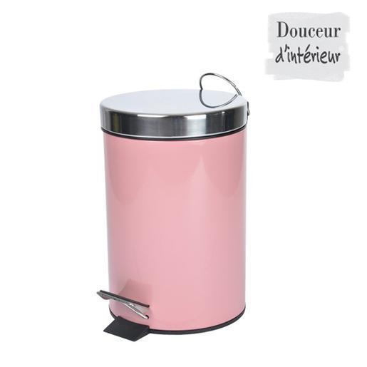 Poubelle - Métal - Rose - Accessoires salle de bain | La Foir\'Fouille
