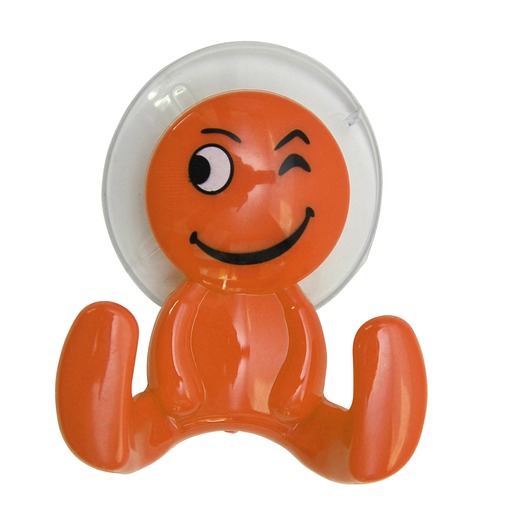 Patère bonhomme à ventouse - 7,2 x 7,5 cm - Orange - Accessoires ...