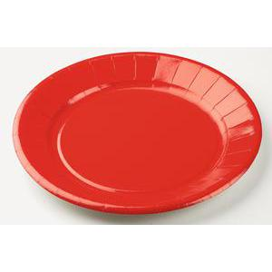 Lot de 10 assiettes - carton - diamètre - 23 cm - Rouge