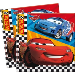 Lot de 20 serviettes Cars rsn en pate de cellulose - 33 x 33 cm - Multicolore