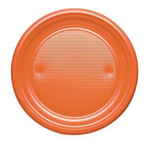 Lot de 20 assiettes en plastique - 22 cm -Polystyrène- Orange