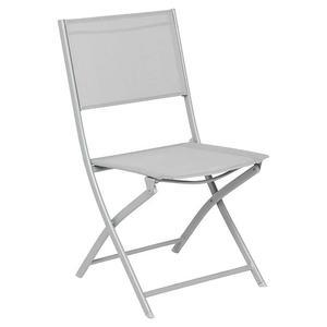 Chaise Modula - 52 x 46 x H 87 cm - Gris galet, silver - HESPERIDE