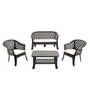 salon de jardin table sofa 2 fauteuils rsine et polypropylne gris anthracite - Meuble Jardin Pas Cher