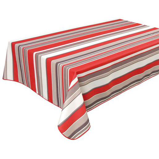 Nappe rectangulaire- Polyester - 140 x 240 cm - Rouge Gis Blanc