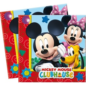 Lot de 20 serviettes Mickey Playful en Pate de cellulose - 33 x 33 cm - Multicolore