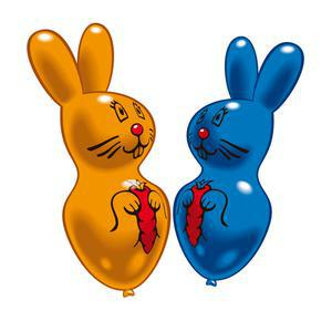 Lot de 2 ballons maxi lapins - Latex - 60 cm - Multicolore