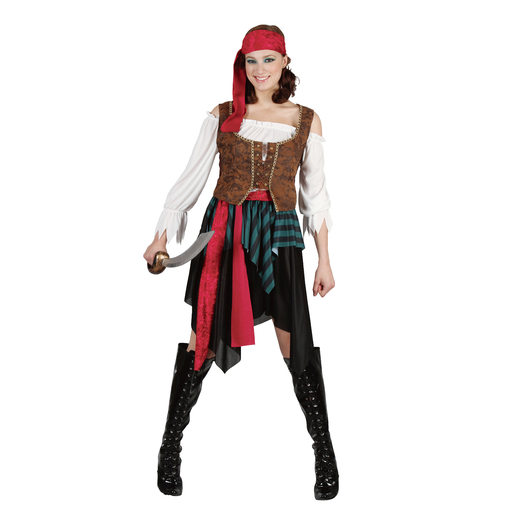 Déguisement femme pirate - Polyester - Taille adulte - Multicolore