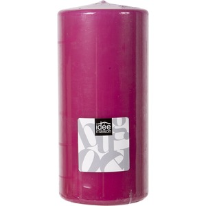 Bougie cylindrique grand format - 7 x 15 cm - Rose fushia