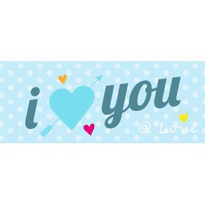 Chassis toile I love you - 20 x 50 cm - Chassis pin - Multicolore