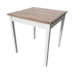 Table l'Authentique Scandinave - 70 x 70 x H 74 cm - Blanc, marron