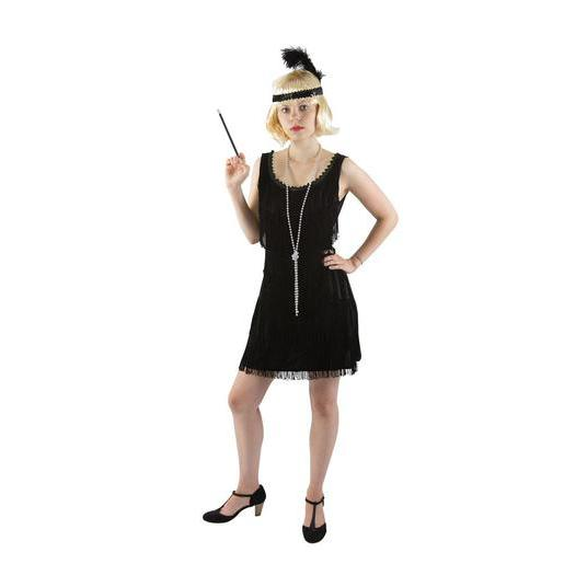 Costume adulte robe charleston en polyester - Taille unique - Noir