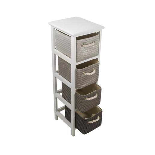 meuble 4 paniers - paulownia - gris - accessoires salle de bain