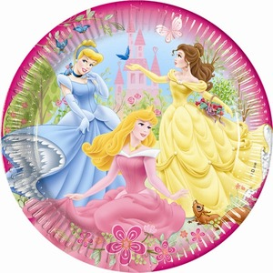 Lot de 10 assiettes Princesses en carton - 23 cm - Multicolore